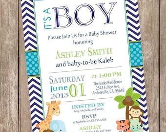 It's a Boy Safari Baby Shower Invitation, safari, chevron, teal, navy, jungle, typography, printable invitation