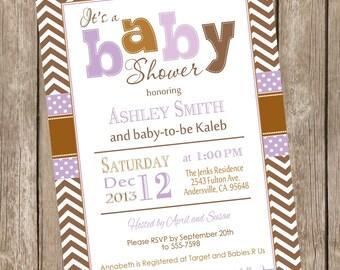 Modern Girl Fall baby shower invitation, brown, lavander, purple, girl autumn baby shower invitation, typography, printable invitation