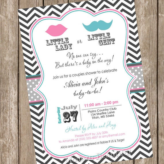 Lips and Mustache Gender Reveal Baby Shower Invitation