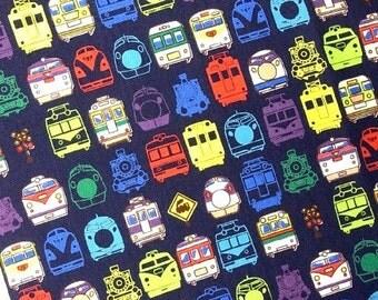 Japanese fabric train printed half  yard  dark navy blue colour fabric