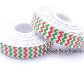 "WHOLESALE 7/8"" Glitter Christmas Chevron Ribbon"