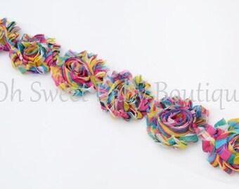 Tie Dye Shabby Chiffon Flower QTY 6