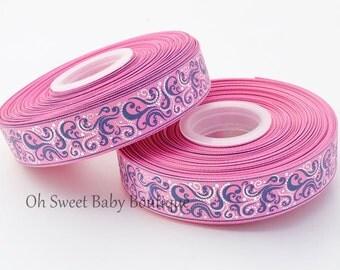 Fancy Swirls Hot Pink / Navy 7/8