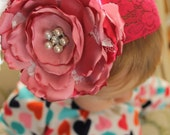 Lace headband Shades of pink silk flower pearls feathers pink stretch for  newborn-toddler-child-girl