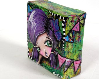 """Whimsical Girl Mixed Media Mini Canvas Art Original & One Of A Kind """"Butterfly Circus"""" 4x4"""