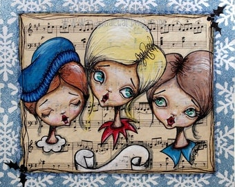Mixed Media Whimsical Big Eyed Art Giclee Print Christmas Carolers Sing So Beautiful by Lizzy Love