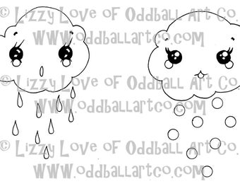 Digi Stamp Digital Instant Download Kawaii Clouds Rain and Snow Image No. 15A and 15B by Lizzy Love
