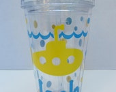 Personalized Acrylic Tumbler - submarine design - party favor - beach - pool - family reunions - many designs - 16 ounce size