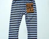 Sweet Luka Mo Black & White Horizontal Stripe Baby Leggings