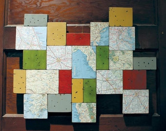 Original Custom Vintage Map and Custom Painted and Distressed Blocks Wall Art Chalk Paint Dark Wax Hanging Artwork Blue Red Green Yellow