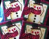 Snowman Ceramic Tile Coasters