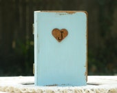 Spring Wedding Ring Box- Book Hand painted  China Blue color Rustic Primitive Personalized fpnewstar