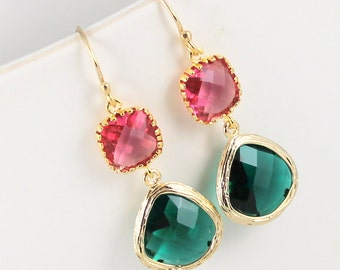 Emerald Green and Fuchsia Glass Gold Earrings, Green Earrings, Bridesmaid Earrings, Wedding Earrings, Gold Bridesmaid Gift