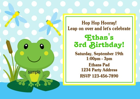 Frog Invitation Frog Theme Birthday Party or Baby por jcsaccents