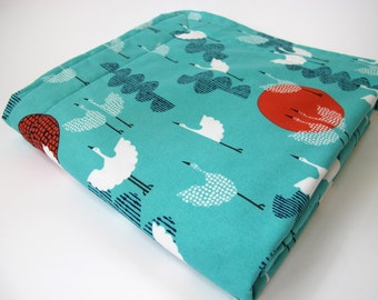 Organic Baby Blanket - Cranes Fabric in Cerulean by Cloud 9  - Tsuru Collection - White  Minky Dot - 26 x 30