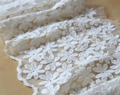 Milk White Cotton Tulle Lace Trim Daisy Flowers Embroidered Lace 10.23 Inches Wide 1 yard