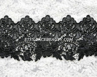 Black Venice Lace Trim Delicated Rose Embroidered Lace Trim 6.49 Inches Wide 1 Yard Wedding Dress Costumes Supplies