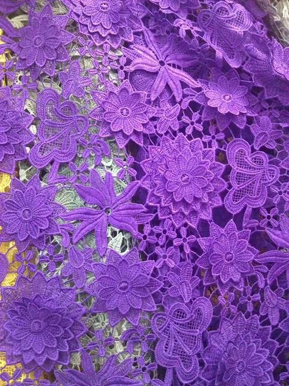 items similar to lace fabric graceful purple venice lace