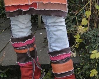 fleece ADJUSTABLE long OR short leg warmers overknee highs leggings pixie boots style elf fantasy gypsy