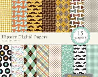 Hipster digital paper 12x12,  digital scrapbooking paper, royalty free- Instant Download