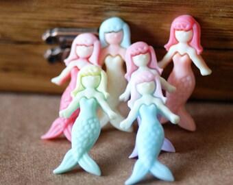 12pcs 40x12mm  Resin  Mermaid  Cabochon Cameo Covers Mixed Colors