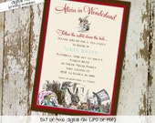 alice in wonderland invitation baby girl shower high tea party mad hatter important date floral rabbit (item 1430) shabby chic invitations