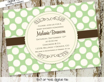 gender neutral baby shower invitation gender reveal sip and see sprinkle baptism birthday announcement (item 1414) shabby chic invitations