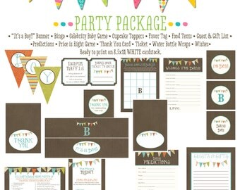 B is for Boy item 122 package AS IS Matching games, ticket, banner, bingo, thank you card, water bottle wraps, cupcake toppers