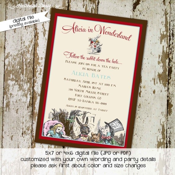 alice in wonderland theme baby shower invitations digital printable