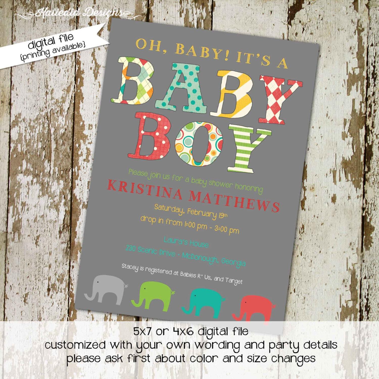 Elephant Theme Baby Shower Invitation Rustic Baby Boy