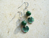 Scottish Tartan Highland Dance Small Green Plaid Earrings with Adventurine Beads MacRae Clan