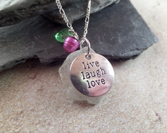 Live, Laugh, Love Necklace, Scottish Sea Glass in White, Scottish Jewelry, Gift from Scotland, Beach Glass, Engraved Inspirational Charm