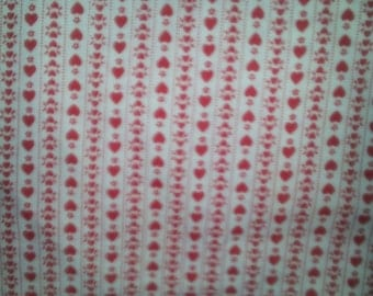SALE    Red Hearts Cotton Fabric  42 Inches Wide 1 Yard