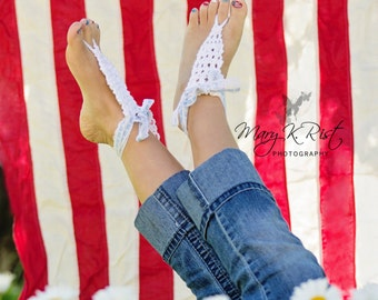 New- The Carly Barefoot Sandal, Knitting PATTERN, Knit Sandals, Shoes, Lace, Beach Wear, Newborn-Adult Size 10