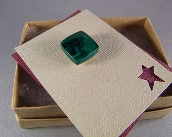 Emerald Green Tietack SHIPS IMMEDIATELY Handmade Composite Banded Green Malachite Tie Tack
