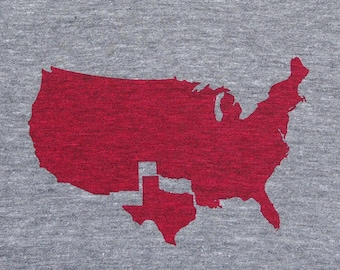 Mens Texas t shirt- american apparel athletic gray- available in S, M, L, XL, XXL- WorldWide Shipping