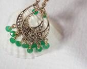 Colombian Emerald Earrings Filigree Victorian Earrings  Gemstone Earrings