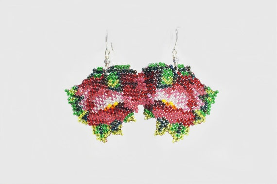 Seed Bead Earrings, Beadweaving Earrings, Rose earrings, Peyote Stitch Earrings