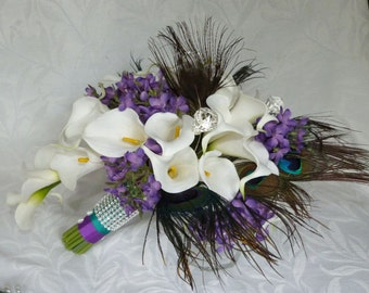Calla lily wedding bouquet Real touch mini white calla lily peacock feather cascading bridal bouquet