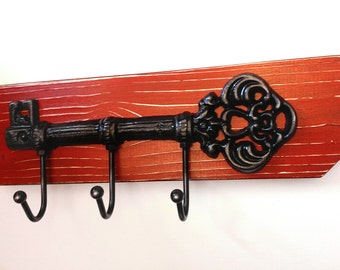 Distressed Cast  Iron Skeleton Key Hook Wall Hanger Shabby Chic / French Country-Apple Red with Black Skeleton Key