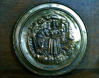 Vintage Welsh Brass Plate Featurning Welsh Lady in Traditional Dress Spinning circa 1950's / English Shop