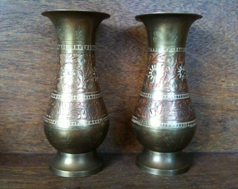 Vintage Brass Pair of Vases Pot Container circa 1950-60's / English Shop