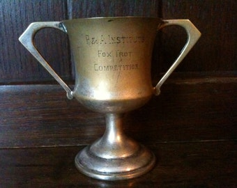 Vintage English trophy cup goblet PA Institute Fox Trot Dancing Competition L/CPL Dr Wootton Mrs R Brown dancing circa 1930's / English Shop