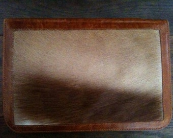 Vintage French Tan Goat Leather Notebook Pad Wallet Diary Case circa 1960-70's / English Shop