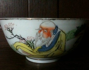 Antique Chinese Old Man Sitting on a Peach Rice Noodle Bowl circa 1910's / English Shop