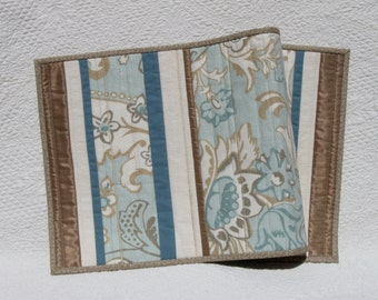 Patchwork table runner in robin's egg blue with copper brown accents