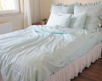 Solid white Pale blue Pink Twin XL-Full-Queen-King duvet cover/doona cover/quilt cover-pillowcases Nurdanceyiz-shabby chic bedding-custom
