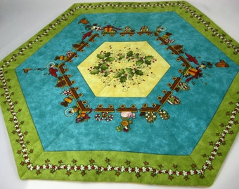Reversible Quilted Table Topper - Christmas Decor - Reverses to Black Eyed Susan Design - Table Mat  Handmade Quilt  Christmas Table Runner