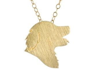 Golden Retriever necklace, Golden Retriever charm - Solid 14k Yellow Gold dog necklace, dog charm pet memorial gift
