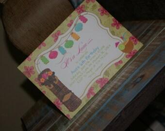 PRINTED Hawaiin Tiki Birthday Party Invitations, set of 25